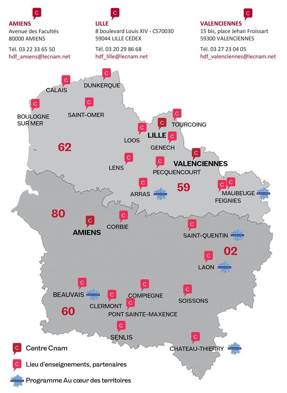 Coordonnées des centres Cnam, CFA Hauts de France et centres du programme Au coeur des territoires